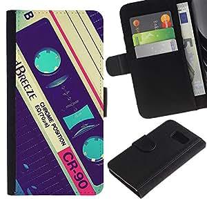 Planetar® Modelo colorido cuero carpeta tirón caso cubierta piel Holster Funda protección Samsung Galaxy S6 ( Cassette Retro Music 90'S Vintage Record )