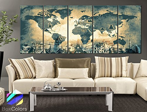 Wonders of the world Old Map Light yellow Wall decor Home interior