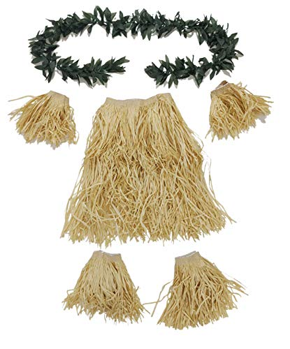 (Tribal Costume for Boys Adult Men Hawaiian Hula Dance Grass Skirt Armbands Leg Bands Set with Extra Long Green Leaf Lei)