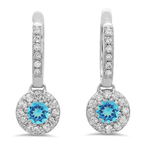 Dazzlingrock Collection 14K Round Blue Topaz & White Diamond Ladies Circle Halo Style Dangling Drop Earrings, White Gold