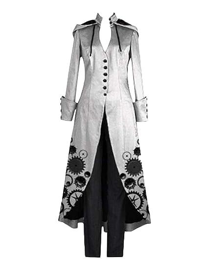 GladiolusA Abrigos Gótico Largo De Mujer Chaqueta Victoriana Steampunk Ropa Larga Abrigo De Manga Larga Gris