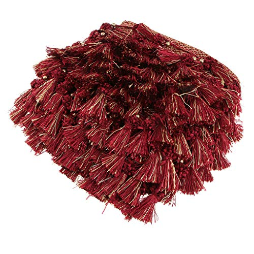 12M European Style Beaded Tassel Fringe Trim Curtain Tablecloth Accessories | Color - Deep Red