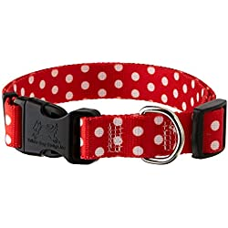 """Yellow Dog Design New Red Polka Dot Dog Collar, Medium-3/4"""" wide fits neck sizes 14 to 20""""/4"""" wide"""