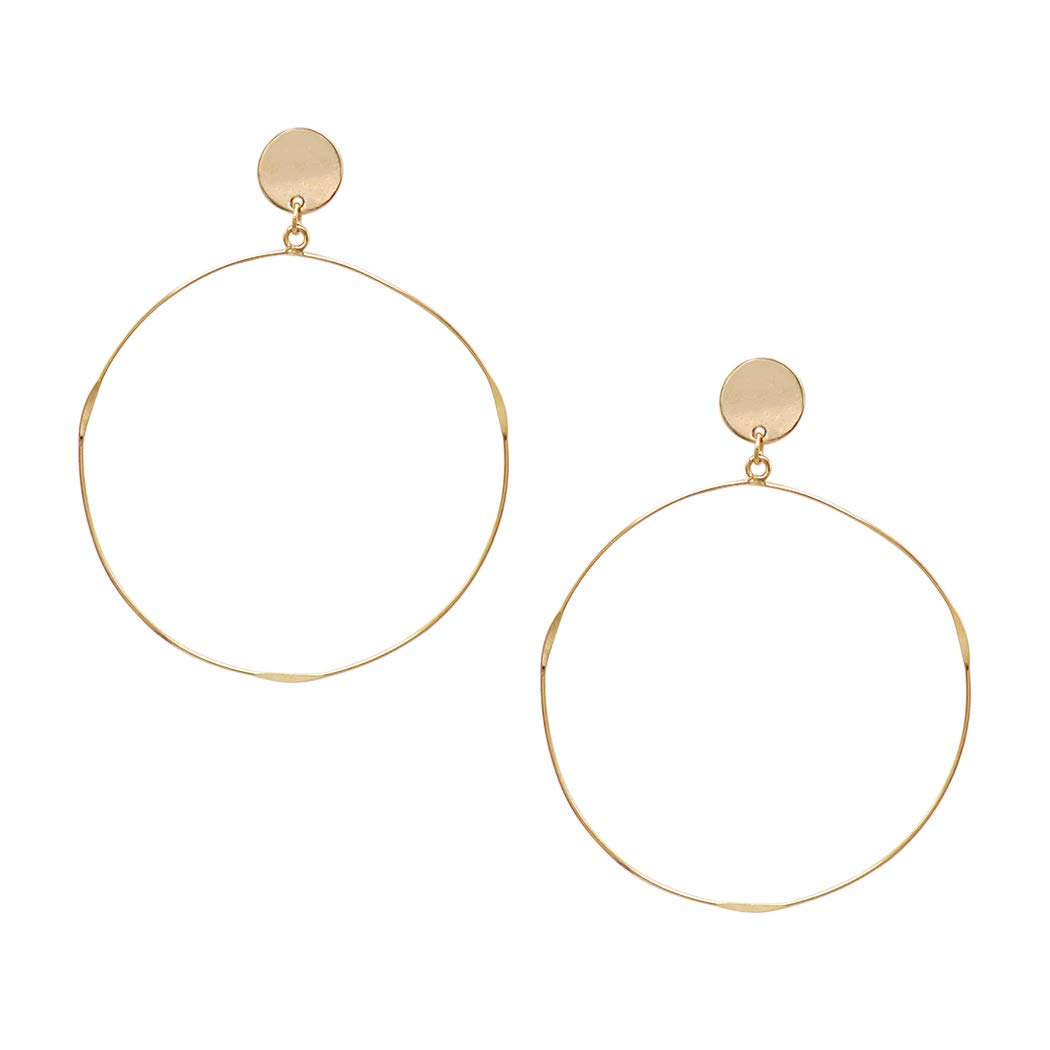 Rosemarie Collections Women's Thin Wire Hoop Dangle Earrings (Gold)