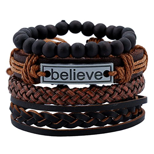 DALARAN Leather Bracelet for Men Wrist Band Brown Rope Bracelet Bangle Believe