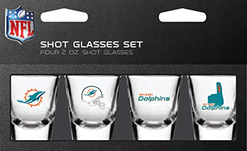 Miami Dolphins Shot Glass - NFL Miami Dolphins Shot Glass Set4 Pack Shot Glass Set, Team Colors, One Size