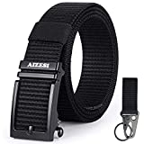AIZESI Men Nylon Belt Black Web Belt Ratchet Belts Automatic Slide Buckle