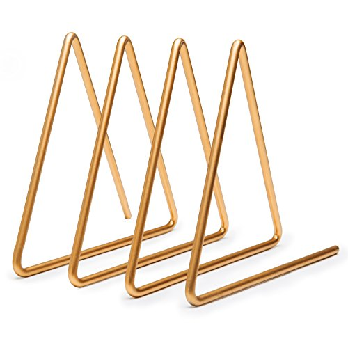 (MyGift Desktop Triangular Gold-Tone Wire Metal Magazine, Book & File Sorter with 3-Slots)