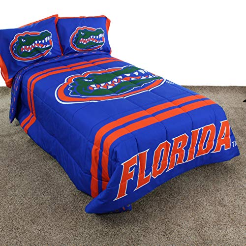 3 Piece Blue Orange NCAA Florida Gators Comforter Queen Set Sports Basketball Reversible Bedding Striped Design Team Logo Collegiate Athletic Team Fan Lightweight Plush Comfy Super Soft ()