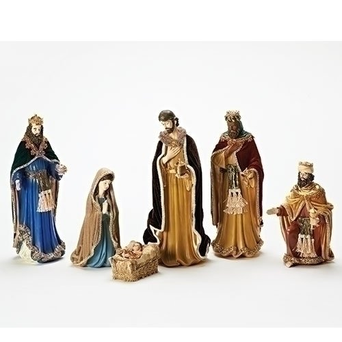 Roman 6Pc Set 14''Nativity with Velvet Cloaks by Roman