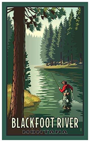 Blackfoot River Montana River Fly Fishing Travel Art Print Poster by Paul Leighton (12