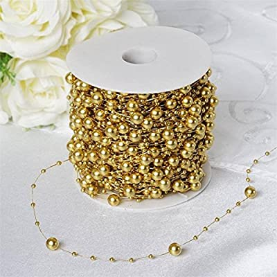 BalsaCircle 62 feet Faux Pearl Beads String Garland String Roll - Wedding Party Crafts DIY Centerpieces Favors Decorations