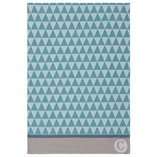 Coucke French Cotton Jacquard Towel Geometric Collection, Triangles, 19-Inches by 29-Inches, Celadon (Lotion Triangle Soap)