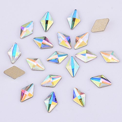 30pcs Glitter AB Crystal Rhombus Flatback Glass Rhinestone 5x8mm DIY Handmade Hair Bow Jewelry Accessory Nail Decoration - For Glasses Face Triangle