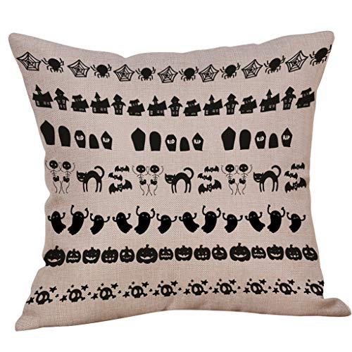 Jocome Throw Pillow Case,Halloween Pillow Case Waist Throw Cushion Cover Sofa Home Decor Linen Square Decorative Throw Pillow Case Cushion Cover -