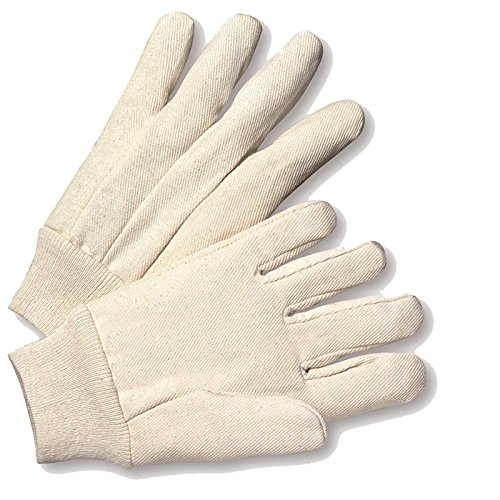 West Chester K01I 100% Cotton 10 oz. Canvas Gloves, White, Large (Pack of 12) ()