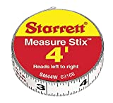 Starrett 63168 SM44W Steel Tape Measure with Adhesive Back, 1/2-Inch x 4'