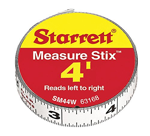 Starrett 63168 SM44W Steel Tape Measure with Adhesive Back, 1/2-Inch x 4