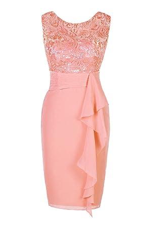 Ellames Womens Short Lace Bridesmaid Dress Formal Party Dress - Orange -