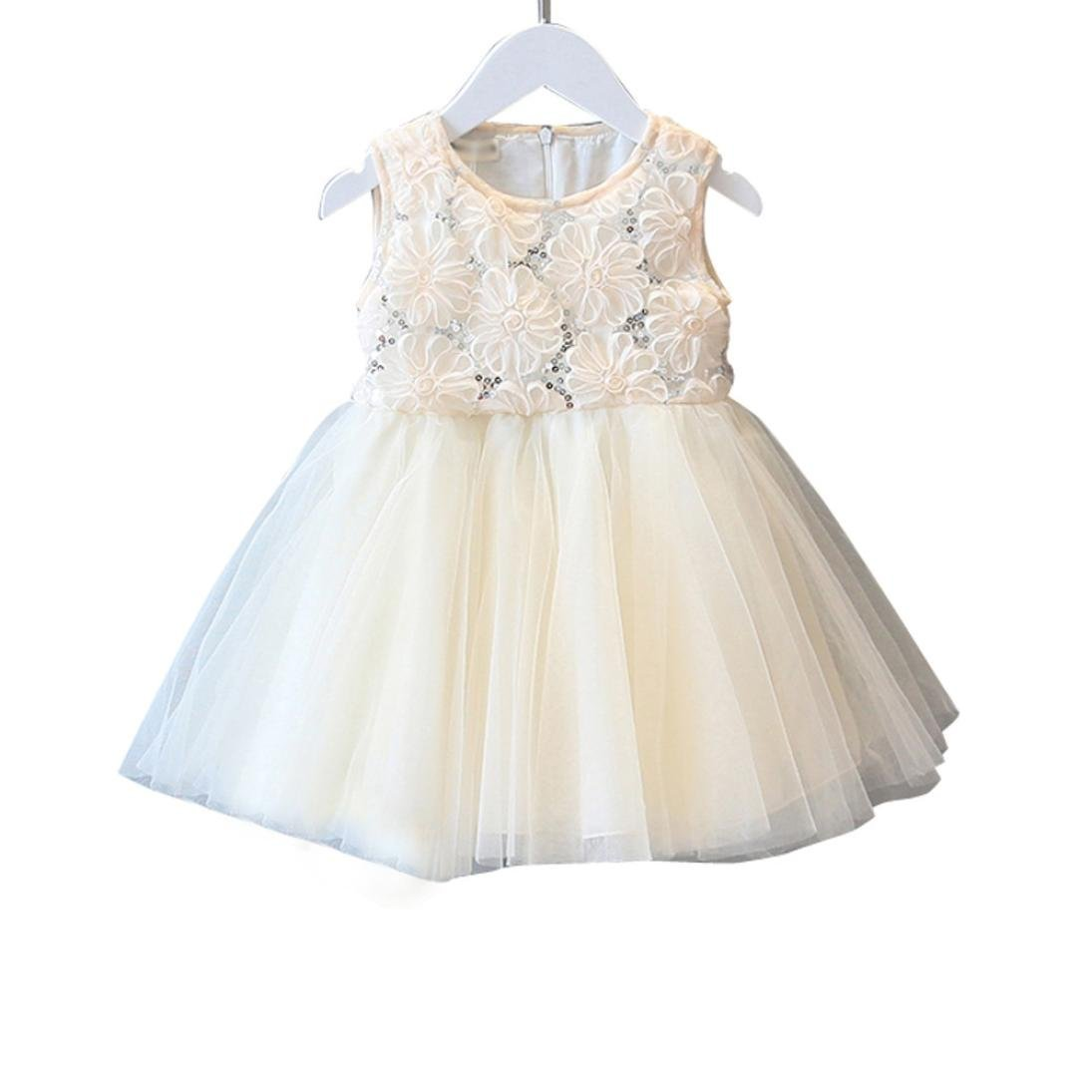 Gotd Girls Rose Sequined Lace Tutu Dress Princess Sleeveless Voile Dress