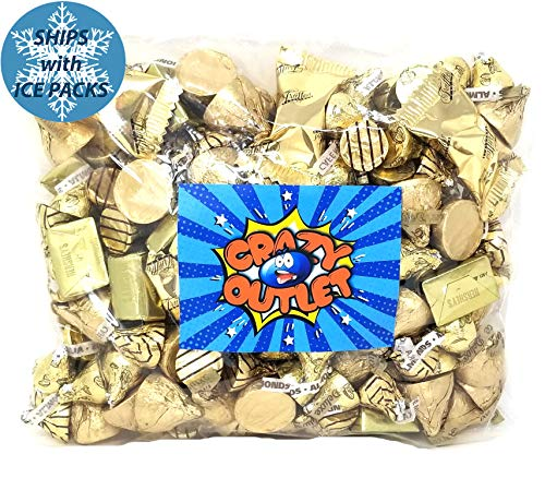 Gold Foil Chocolate Candy Assortment - Kisses Deluxe, Hershey's Nuggets, Hershey's Kisses, Chocolate Truffles - Wedding Party Candies, 3 Lbs