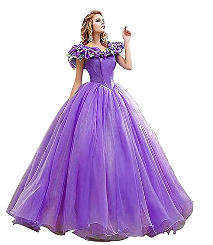Snowskite Women's Princess Costume Butterfly Ball Gown Cinderella Quinceanera Dress Lilac 22
