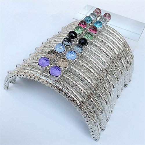 GuoFa 10.5CM Silver Metal Frame Purse Coin Bag Kiss Clasp Lock DIY Craft Assorted Lotus Bead Bronze 10PCS ()