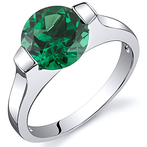 Emerald Bezel Ring (Bezel Set 1.75 carats Simulated Emerald Engagement Ring in Sterling Silver Rhodium Nickel Finish Size)