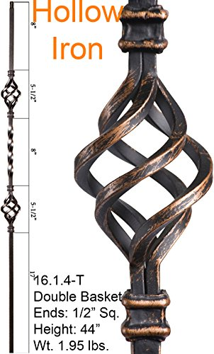Oil Rubbed Bronze 16.1.4-T Hollow Double Basket Iron Baluster for Staircase Remodel , Box of 5 (Basket Baluster)