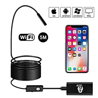 6/LED, compatible con Android, iOS smartphone, iPhone, Samsung, Tablet//–/5/M Endoscopio iPhone Depstech 5/m Wifi endoscopio IOS HD c/ámara de inspecci/ón impermeable con 2,0/megap/íxeles serpiente
