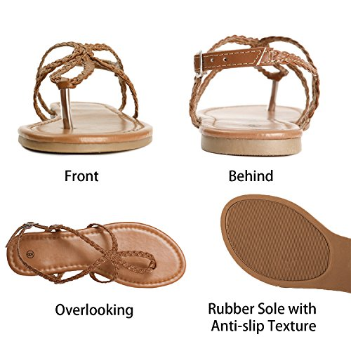 Beach Flat Summer Sandals Flip Flop Strap Ankle Braided Brown Tong Strap Women Fasehold Buckle Shoes Z0qFFY