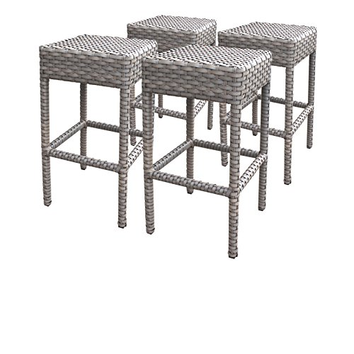 TK Classics Oasis 4 Piece Backless Barstools, Grey Stone