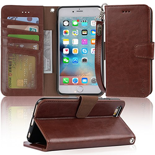 Iphone 6s Plus Case, iphone 6 plus case, Arae [Wrist Strap] Flip Folio [Kickstand Feature] PU leather wallet case with ID&Credit Card Pockets For Apple Iphone 6 plus/ 6S Plus 5.5 (Dark Brown)
