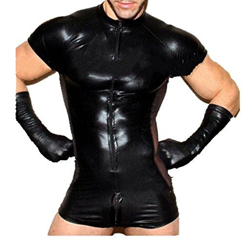 YiZYiF Men's One-Piece Leather Look Zentai Catsuits Bodysuit Zipper Boxers Pants Black X-Large (Catsuit Costume Zentai)