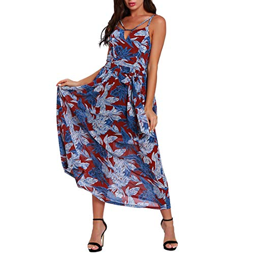 color Sexy Yahuyaka Halter Maxi Blue Sin Blue Tirantes Las Sundress Sling S Vestido Mujeres De Beach Size Verano zgwqxO4z