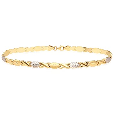 f067df6e36 Amazon.com: 14k Yellow Gold White Gold 6mm Anklet XO Hugs & Kisses ...