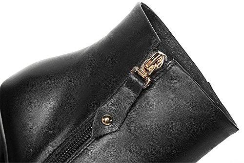 Nio Sju Äkta Läder Womens Fyrkantig Tå Chunky Häl Unik Charmiga Handgjorda Sexig Ankel Stövlar