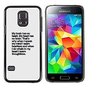 Lluvia Corazón texto inspirador inspirada- Metal de aluminio y de plástico duro Caja del teléfono - Negro - Samsung Galaxy S5 Mini (Not S5), SM-G800