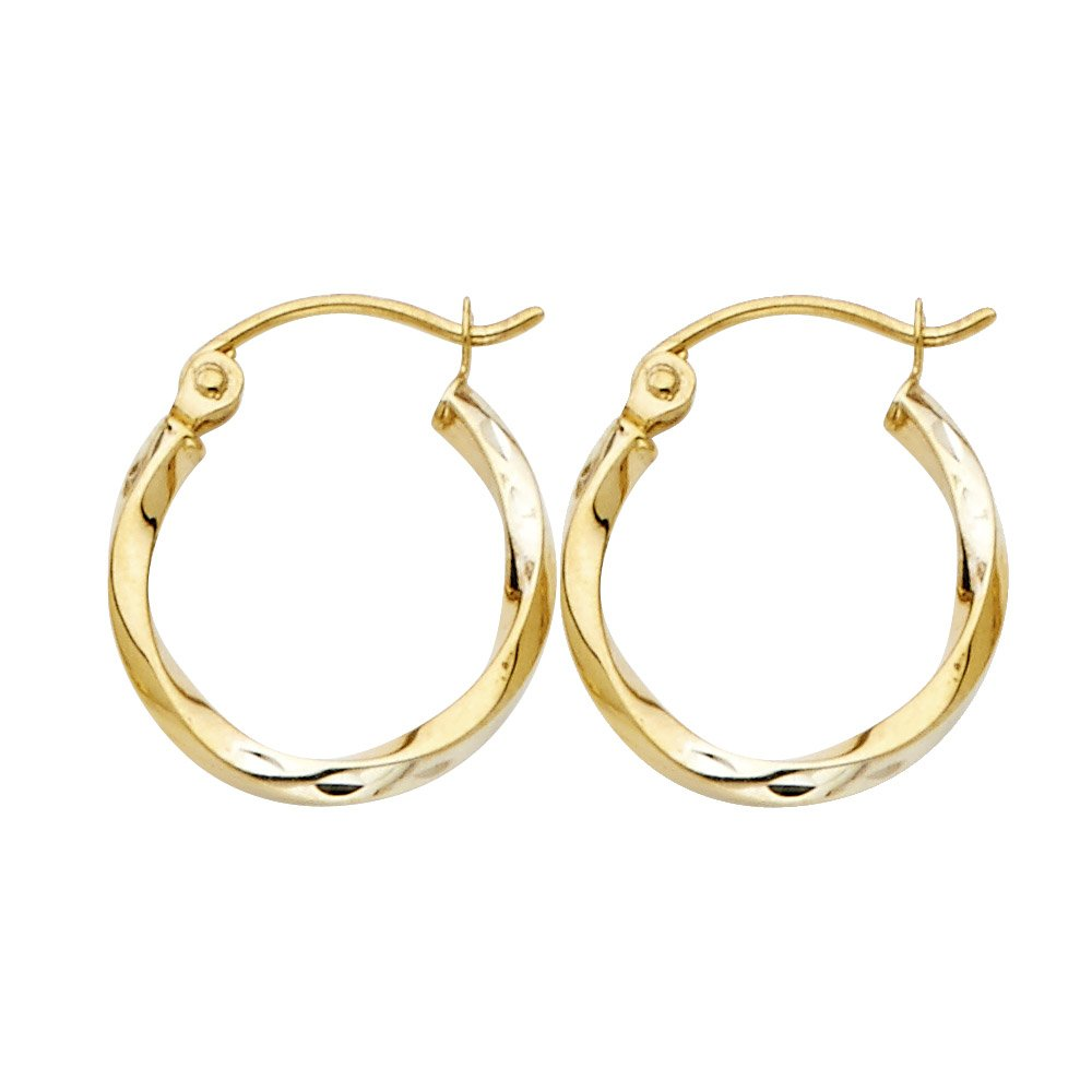 Oval Curled Hoop Earrings Solid 14k Yellow White Rose Gold Hollow Diamond Cut
