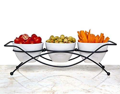 Elegant 4-piece Relish Tray with White Ceramic Bowl. Server Set with Metal Rack. Buffet Server for Candy, Nuts and Dips. (Relish Dip)