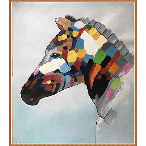 West Coast Hand-Painted Oil Painting Modern Animal Painting Living Room Bedroom Home Decoration Art Canvas Oil Painting 20x24 Inches (Horse)