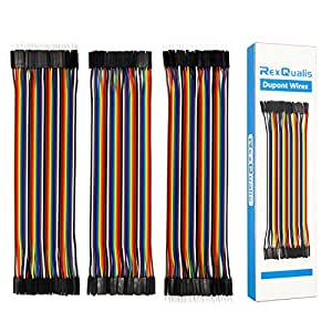 REXQualis 120pcs Breadboard Jumper Wires 20cm Length Dupont Wire Kit 40pin Male to Female, 40pin Male to Male, 40pin Female to Female for Arduino/DIY/Raspberry Pi 2 3