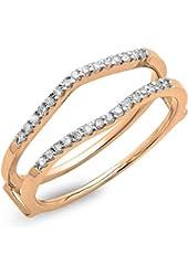 0.18 Carat (ctw) 10K Gold Round Diamond Ladies Wedding Enhancer Double Ring
