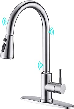 Touchless Kitchen Faucet Arrisea Touch On Activation Kitchen Sink Faucets With Pull Down Sprayer Brushed Nickel Smart Bar Sink Faucets With Three Water Flow Modes Spray Head F15027 Amazon Com