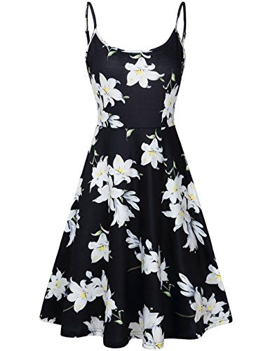 FANVOOK Dresses for Women Work Casual,Lily Floral Swing Tank Tops Round Neck Comfy Soft LB S