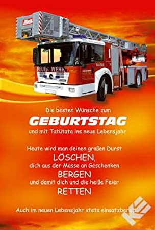 Feuerwehr Geburtstagskarte Amazon De Küche Haushalt
