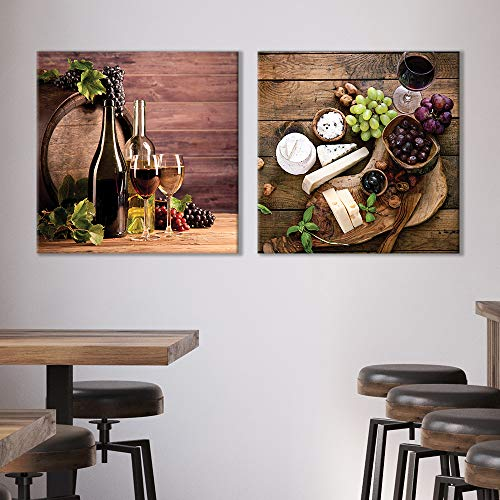 Wine Fruits Painting Artwork for Home Framed x 2 Panels