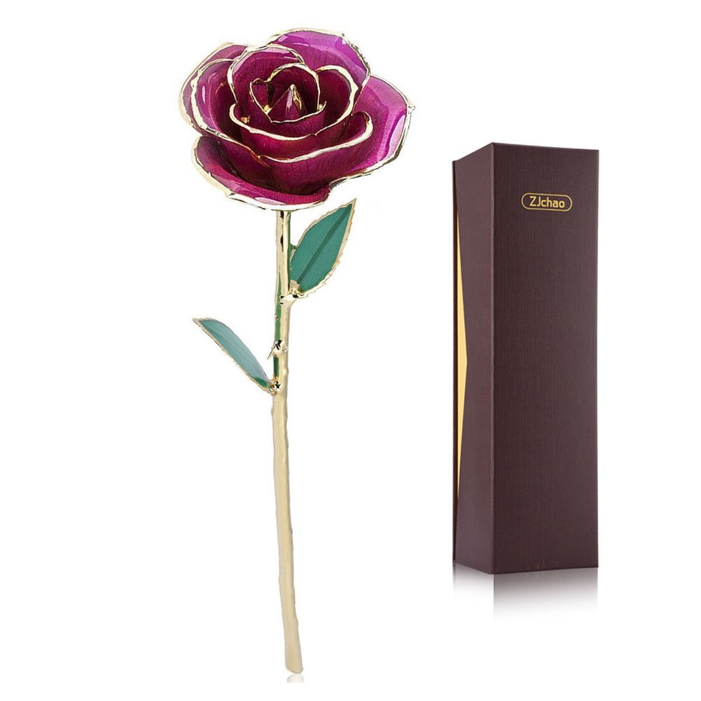 Purple Gold Rose, ZJchao Gold Rose love forever Long Stem Dipped 24K Rose Foil Trim , Gifts for Her (Purple)