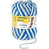 REGIA 4-fädig Color 9801269-05395 blau/weiß Handstrickgarn, Sockengarn, 100g Knäuel