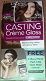 L'Oreal Paris Casting Creme Gloss Hair Color, 535 Chocolate, 87.5g+72ml With Free Clay Mask Sample